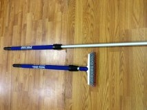 Grout brush shark with telescoping heavy duty pole