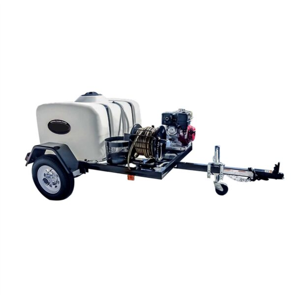 Mobile cold water pressure washer trailer package